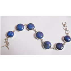 NATURAL 124.00 CTW LAPIS ROUND BRACELET .925 STERLING S