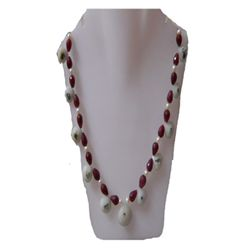Natural 257.45ct Ruby,Peral,Semi Precious Necklace .925