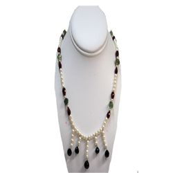Natural 197.00ct Pearl,Ruby,Semi Precious Necklace .925