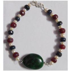 Natural 171.05ct Emerald/Pearl/Ruby/Sapphire Bracelet .