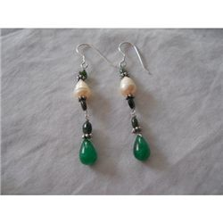 23.40 ctw Emerald and Pearl Earrings .925 Sterling