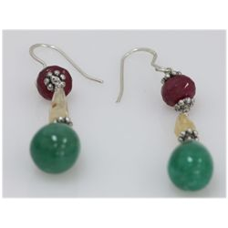 NATURAL 36.00 CTW EMERALD, RUBY, SEMIPRECIOUS EARRINGS