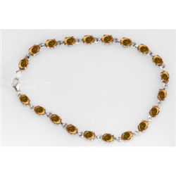 NATURAL 10.00 CTW CITRINE OVAL BRACELET .925 STERLING S