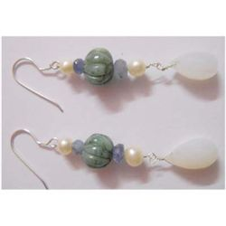 Natural 39.60 ctw Semi Precious Earring .925 Sterling