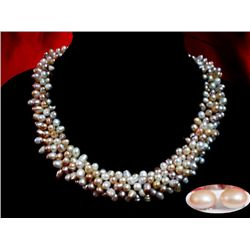 NATURAL 450 CTW FRESHWATER RICE PEARL NECKLACE 5-BRAIDE