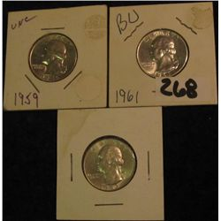 6. 1959P, 61P, & 63D Silver Washington Quarters. Lightly toned MS 63,