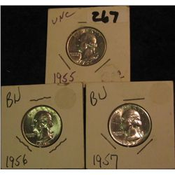 8. 1955P, 56P, & 57P Silver Washington Quarters. Gem BU.