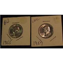 12. 1955 P & 57 P Gem BU Silver Washington Quarters.
