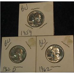 13. 1959 P, 62 P, & D Gem BU Silver Washington Quarters.