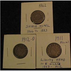 "16. Shield Nickel with a weak date; 1911 VF, 12 D VF Liberty ""V"" Nickels."