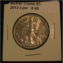 40. 1946 P Walking Liberty Half Dollar. AU 50.