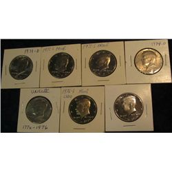 54. 1971 D, 72S, 73S, 74D, 76D, & (2) 76S Clad Proof Kennedy Half Dollars.