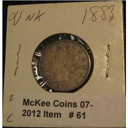"61. 1883 No Cents Liberty ""V"" Nickel. VF-EF."