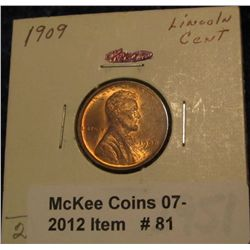 81. 1909 P Lincoln Cent. Brilliant Unc. Light reverse spot.