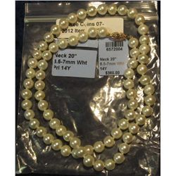 "90. 20"" Genuine 6.5-7mm Pearl Necklace with 14K Yellow Gold Clasp."