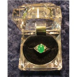 91. Approximately Size 8 Ladies Sterling Silver & Jade Ring. New in box.