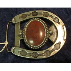 93. Men's Western Style Belt Buckle with Mahogany Obsidian Oval inset.