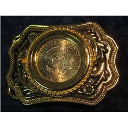 96. Gold-Colored Western Style Belt Buckle with Kennedy Half Dollar.