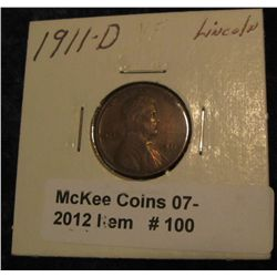 100. 1911 D Lincoln Cent. VF 20.