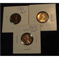 304. 1961, 62P & 64P Proof 63-65 Lincoln Cents.