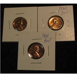 305. 1961, 62P & 64P Proof 63-65 Lincoln Cents.