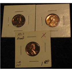 307. 1959P, 60P, & 63P Proof 63-65 Lincoln Cents.