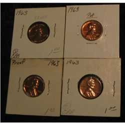 308. (4) 1963 P Proof 63-65 Lincoln Cents.