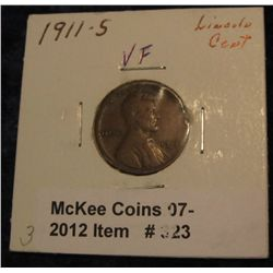 323. 1911 S Lincoln Cent. VF 20.