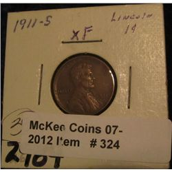 324. 1911 S Lincoln Cent. EF 40.