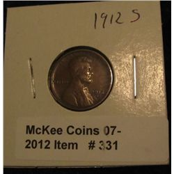331. 1912 S Lincoln Cent. VF 20.