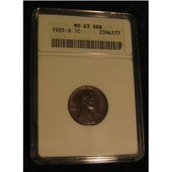 332. 1925 S Lincoln Cent. ANACS slabbed MS 63 BRN.