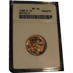 333. 1938 D Buffalo Nickel. ANACS slabbed MS 66.