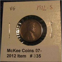 335. 1912 S Lincoln Cent. VG-8.