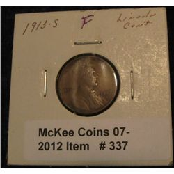 337. 1913 S Lincoln Cent. F-12.