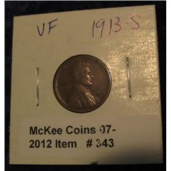 343. 1913 S Lincoln Cent. VF 20.