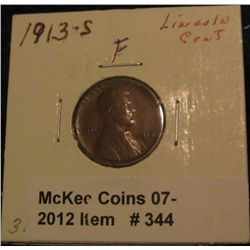 344. 1913 S Lincoln Cent. F-12.