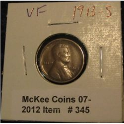 345. 1913 S Lincoln Cent. VF 20.