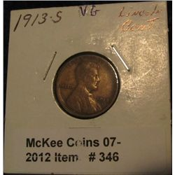 346. 1913 S Lincoln Cent. VG-8.