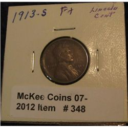 348. 1913 S Lincoln Cent. F-12.