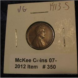350. 1913 S Lincoln Cent. VG-8.