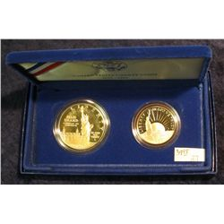 847. 1986S Statue of Liberty Silver Dollar and Half Set. Proof