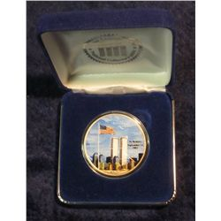 849. 2001 American Eagle Silver Dollar Painted Twin Towers.