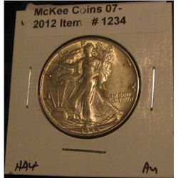 1234. 1944 P Walking Liberty Half Dollar. AU 50.