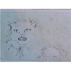 FINI LEONOR FINI H.Signed Etching French Cat 1976