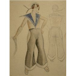 MARKOV MARKOV Drawing Russian 1930 Costume
