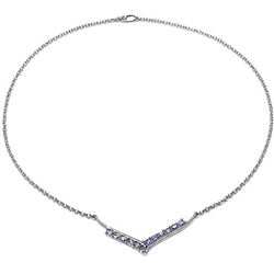 2.04 Carat Genuine Tanzanite .925 Sterling Silver Neckalce