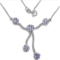 1.33 Carat Tanzanite .925 Sterling Silver Necklace