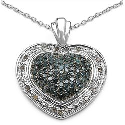 0.90 Carat Genuine Blue Diamond & White Diamond .925 Sterling Silver Pendant