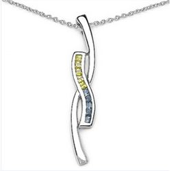 0.54 Carat Genuine Blue & Yellow Sapphire .925 Sterling Silver Pendant