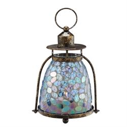 Blue & Green Mosaic Glass Lantern / Candle Holder